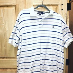 White and Blue Striped Polo by Ralph Lauren